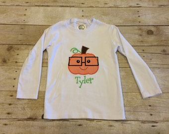 Pumpkin with glasses shirt; Fall; personalized