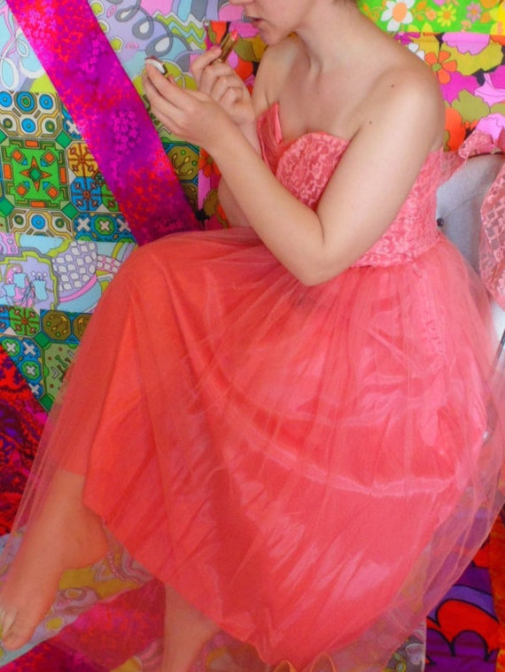 Pink 50's prom Dress Small excellent condition tul