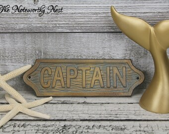 ANY COLOR: Captain sign / Nautical decor // Boat Decor  // Man Cave // Ship Decor // Boat Captain // Coastal Living // Lake House Decor