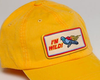 IM WILD! Gold Embroidered Flames and Pigeon Hat, Funny Flaming Bird Tumblr Dad Cap, Unstructured Bird Meme Baseball Hat, Wild and Free