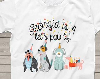 Puppy dog Birthday shirt, Let's Paw-ty!, Birthday Party, gift for kids, doggie shirt