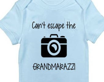 "New baby gifts funny bodysuit ""Can't excape the Grandmarazzi"" shower Gift ideas boutique babies boys"