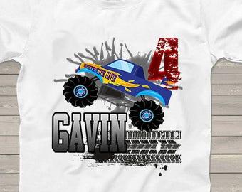 a60695c1 Monster Truck Birthday shirt for boys girls kids party personalized 4th birthday  tshirt 3rd, 5th 6th 7th 8th 9th trucks matching family set