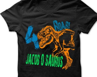 a2049660 Dinosaur birthday shirt for kids personalized tshirt 3rd bday 1st, 2nd,  4th, 5th, 6th any birthday dino t-rex theme party shirts boys, girls