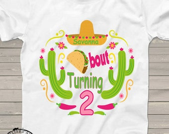 Taco bout turning two, birthday shirt, Personalized taco twosday tshirt or for any birthday age, one of kind Cinco de Mayo shirts, for kids