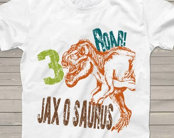 Dinosaur birthday shirt for kids personalized t-rex tshirt 3rd bday 1st, 2nd, 4th, 5th, 6th any birthday dino theme party shirts boys girls