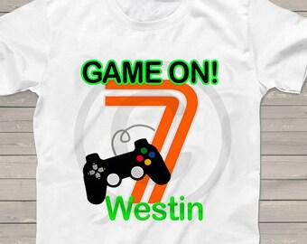 b8e2f68f5 Game on 7th birthday shirt Video Gamer Personalized Game on t-shirt kids  shirts boys girls gamer party any age birthday shirt