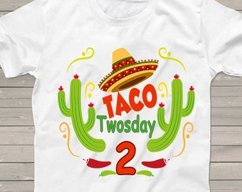 Boys 2nd Birthday shirt Taco TWOsday Mexican fiesta party tshirt Personalized tacos shirts funny one of kind Cinco de Mayo for kids