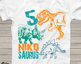 b564e7175 BEST SELLER, Dinosaur birthday shirt for kids personalized tshirt 3rd bday  2nd, 4th, 5th any birthday dino t-rex theme party shirts for kids