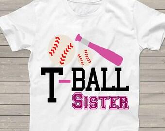 T-Ball Sister shirt for girls, baseball team shirts, personalized little sister t-shirt for boys, girls, pregnancy announcement, pink