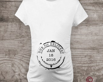 Due date stamp Maternity t-shirt Personalized pregnancy announcement, Future Mom, gift ideas for mom, personalized gifts, Maternity t-shirt