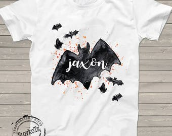 Halloween shirt for kids, Pumpkin patch shirts, personalized bat t-shirt for boys or girls, fall festival tshirt, any name can be printed