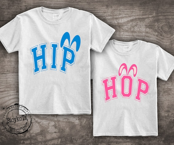 3c3d2b04d Easter shirt for kids, funny bunny ears, HIP HOP party shirts, personalized  t-shirt for boys, girls, set of two matching family pink blue