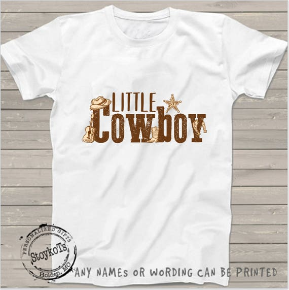 Little Cowboy Birthday Shirt For Kids Country Western Farm