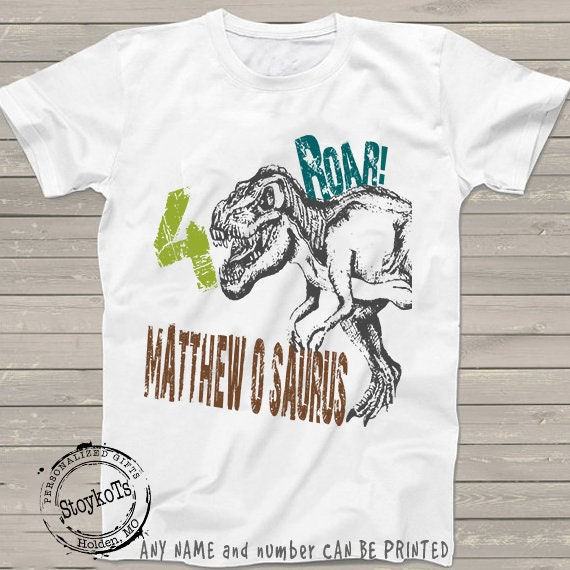 Dinosaur Birthday Shirt For Kids Personalized T Rex Tshirt 4th Bday 1st 2nd 3rd 5th 6th Any Dino Theme Party Shirts Boys Girls