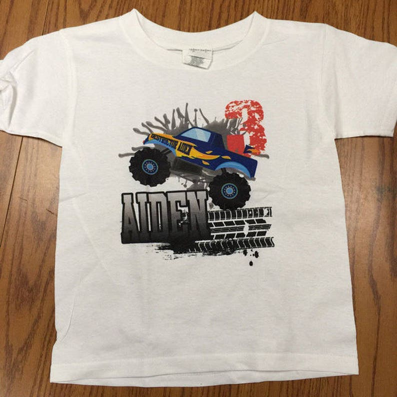 8a91942a5 Monster Truck Birthday shirt for kids party personalized 5th | Etsy