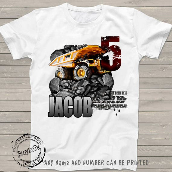 Dump Truck Birthday Shirt For Kids Party Personalized 5th