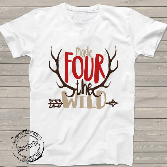 Fourth Birthday Shirt For Boys Made Four The Wild