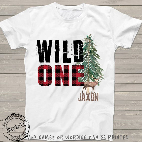 Wild One 1st First Birthday Shirt Woodland Lumberjack Tshirt For Kids Red Plaid Check Deer Shirts Family Personalized Any Bday