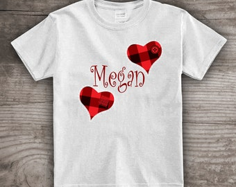 Personalized Valentines Day Peronalized t-shirt Red black check plaid Buffalo check valentines gifts for kids baby love -a363
