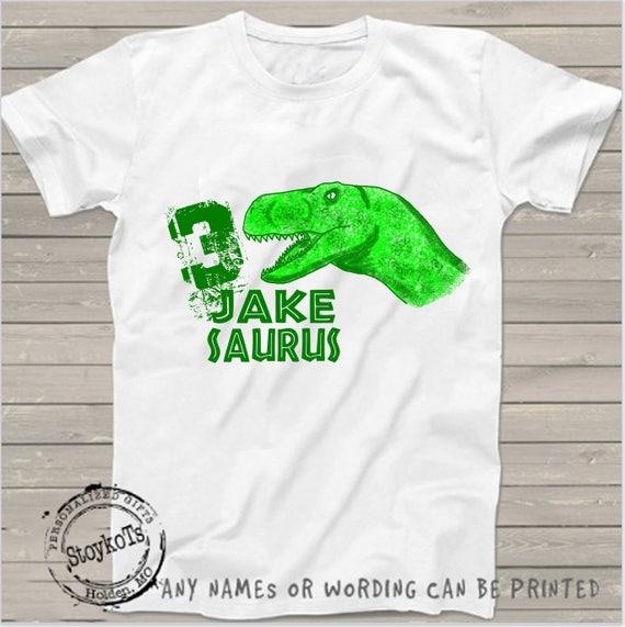 Dinosaur Birthday Shirt For Kids Personalized Tshirt 3rd Bday 2nd