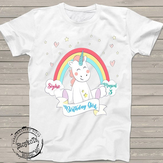 Unicorn Birthday Shirt For Girls Personalized Tshirt 3rd Bday 1st 2nd 4th 5th 6th Any Magical Rainbow Party Theme