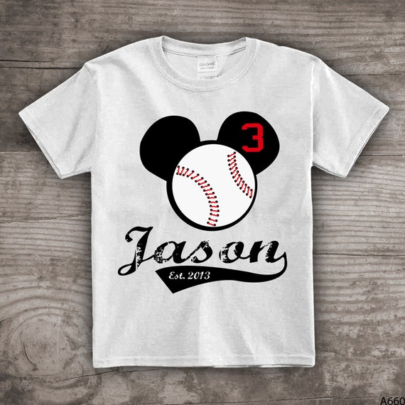 3rd Birthday Shirt Personalized Baseball T Mouse Ears Kids Clothing Gift For Him Her Tshirt