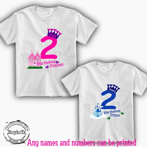 2nd Birthday Shirts For Kids Prince And Princess Tshirt Boys Girls
