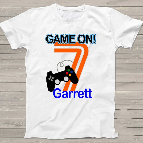 Game On 7th Birthday Shirt Video Gamer Personalized T Kids Clothing Gift For Him Her Tshirt