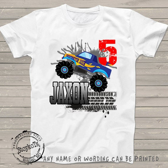 Monster Truck Birthday Shirt For Kids Party Personalized 5th