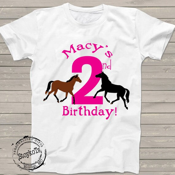 Birthday Horses 2nd Shirt Pink Farm Horse Party Theme For