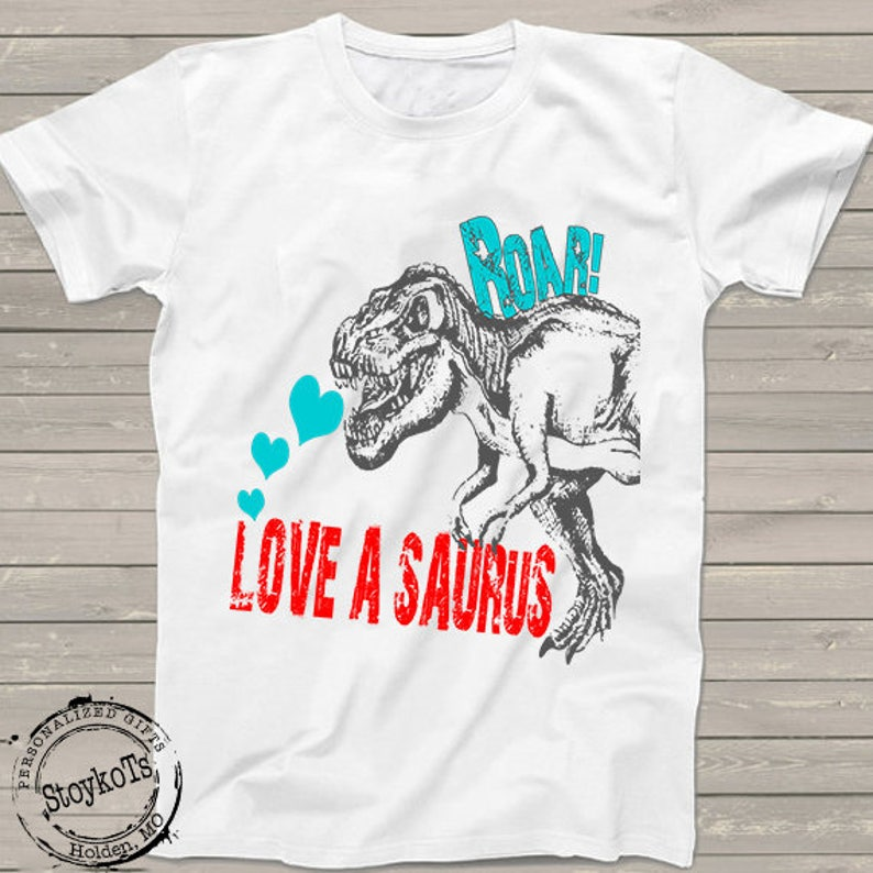 2110a5dc0 Valentines Day Dinosaur shirt Love a saurus dino shirts for | Etsy