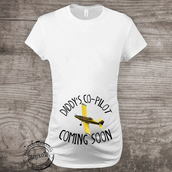 793ec888 Maternity shirt Airtractor 502 plane new Baby Pregnancy Announcement future  baby, Daddy's co pilot coming soon, Airplane