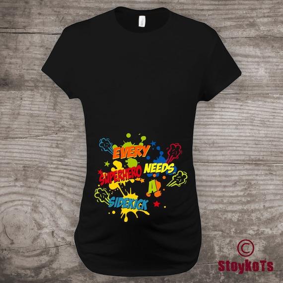 bad25523b5cf5 Maternity t-shirt, Pregnancy Announcement, Superhero, Super Mom to be,  Every Superhero needs a Sidekick, Funny Shirts Baby Shower Gift