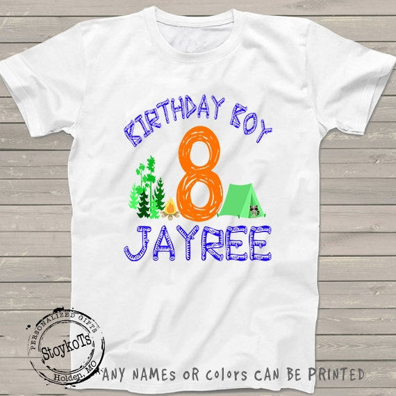 56436e69 Camping shirt for kids boys girls personalized 8th birthday matching family  Reunion shirts Vacation camper tent 4th, 5th, 6th, 7th, 9th 10th