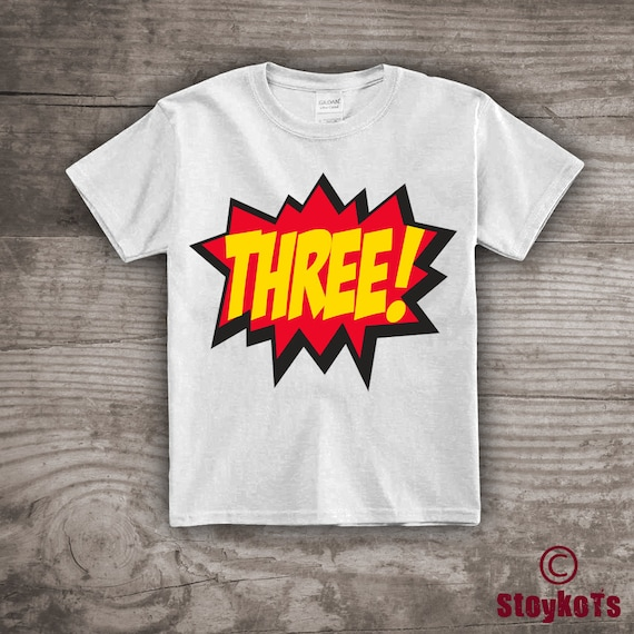 Kids Superhero 3rd Birthday T Shirt Personalized Comic Hero Kapow Clothing Gift Ideas For Her Tshirt One Of A Kind