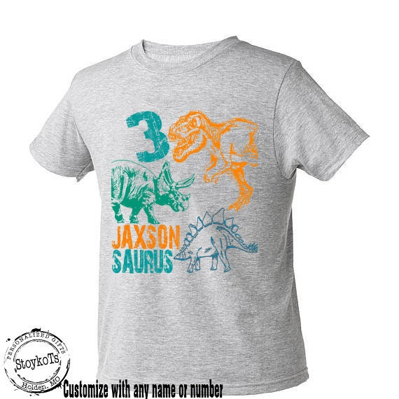 Dinosaur Birthday Shirt For Kids Personalized Gift Tshirt 3rd Bday 1st 2nd 4th 5th Any Dino T Rex Theme Party Shirts Boys Girls