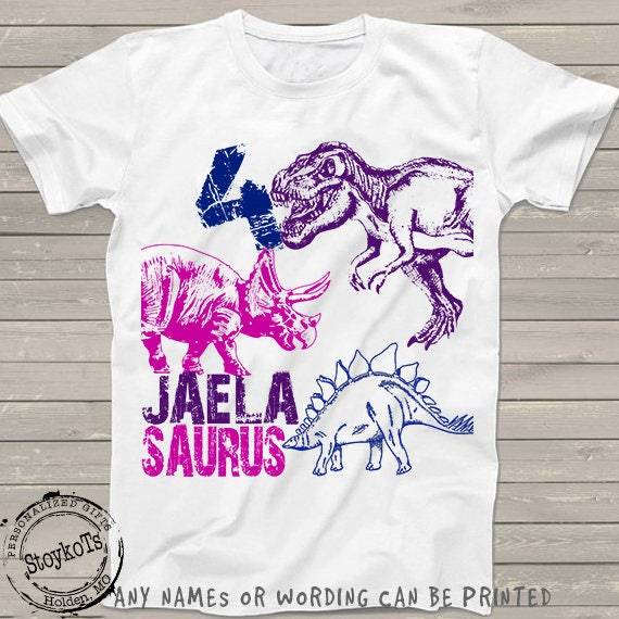 7b776e46 Dinosaur birthday shirt for kids personalized tshirt 4th bday 1st, 2nd,  3rd, 5th, 6th any birthday dino t-rex theme party shirts boys, girls
