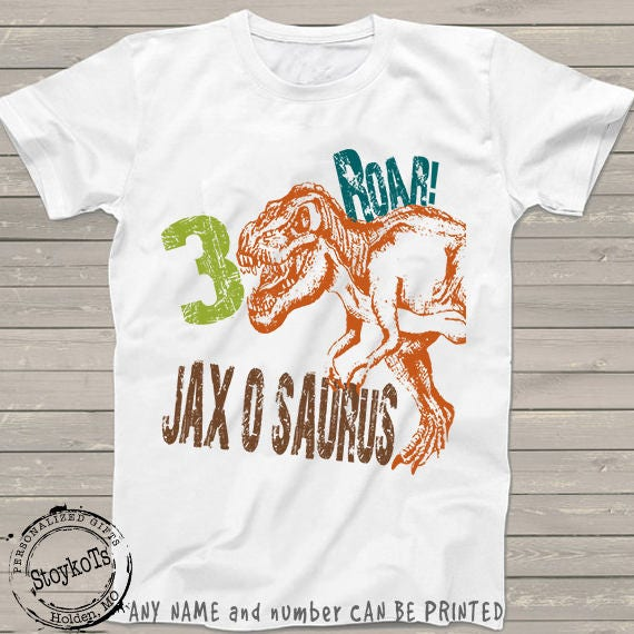 Dinosaur Birthday Shirt For Kids Personalized T Rex Tshirt 3rd Bday 1st 2nd 4th 5th 6th Any Dino Theme Party Shirts Boys Girls