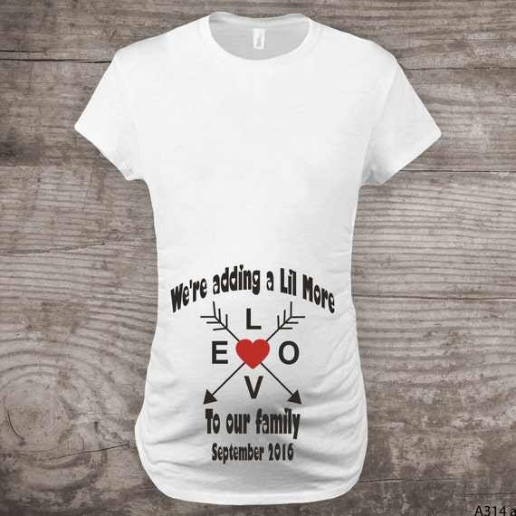 Personalized Valentines Day Maternity T Shirt Pregnancy Announcement