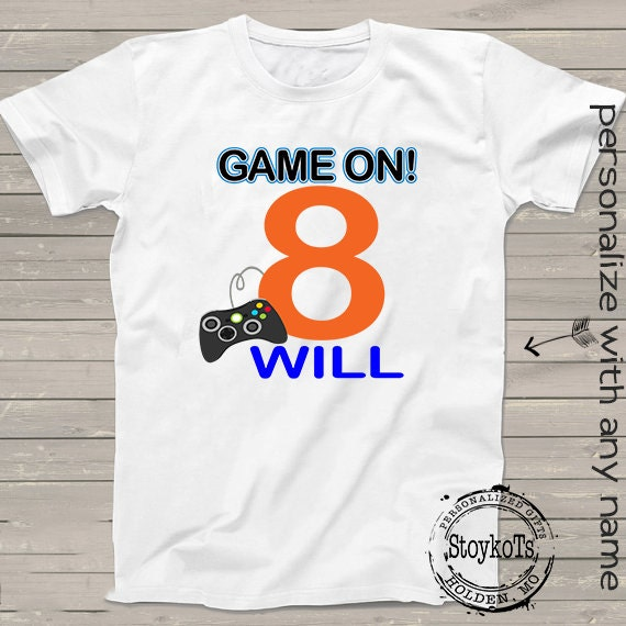 8th Birthday Shirt Gamer Personalized Game On T Kids Clothing