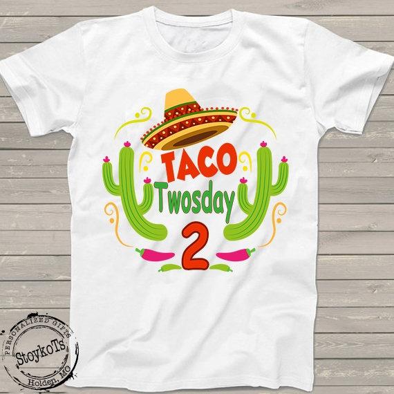 2nd Birthday Shirt Taco TWOsday Boys Girls Mexican Fiesta