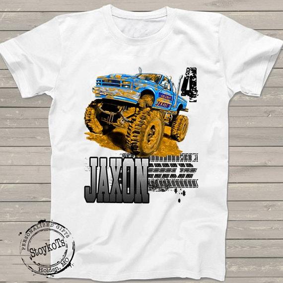 Monster Truck Birthday Shirt For Kids Party Personalized 4th Tshirt 3rd 5th 6th 7th 8th 9th Big Trucks Boys Girls Matching Family