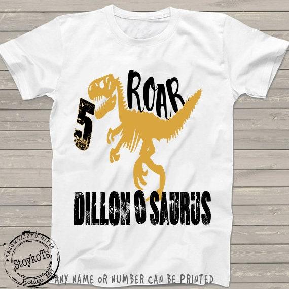 e84aca78 Dinosaur birthday shirt for kids personalized tshirt 5th, 1st, 2nd, 3rd,  4th, 6th any birthday dino t-rex black gold theme for boys or girls