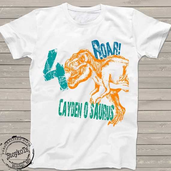 Dinosaur Birthday Shirt For Kids Personalized T Rex Tshirt 4th Bday