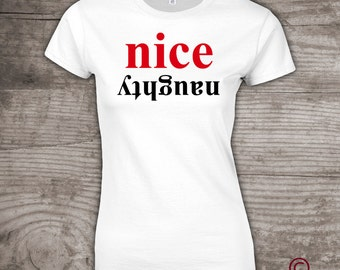 """Christmas shirts for women Personalized """"Naughty or Nice"""" shirt tops & tees Santa's checklist adult Christmas one of a kind gift"""