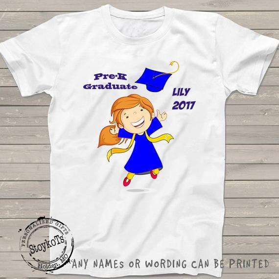 c18788961 Graduation shirt for girls Personalized kindergarten grad pre-k preschool t- shirt Class of 2018 school shirts, gift ideas for kids