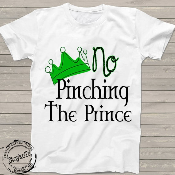 7c028767 Funny St Patricks Day shirt for boys, No Pinching the prince t-shirt, green  Irish crown, Celtic, personalized shirts for kids