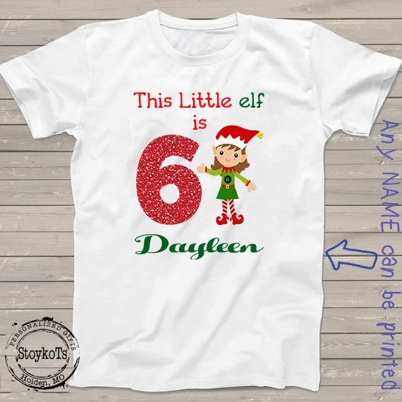 Christmas Shirts For Kids Personalized Elf 6th Birthday T Shirt Boy Or Girl Custom Matching Family Set