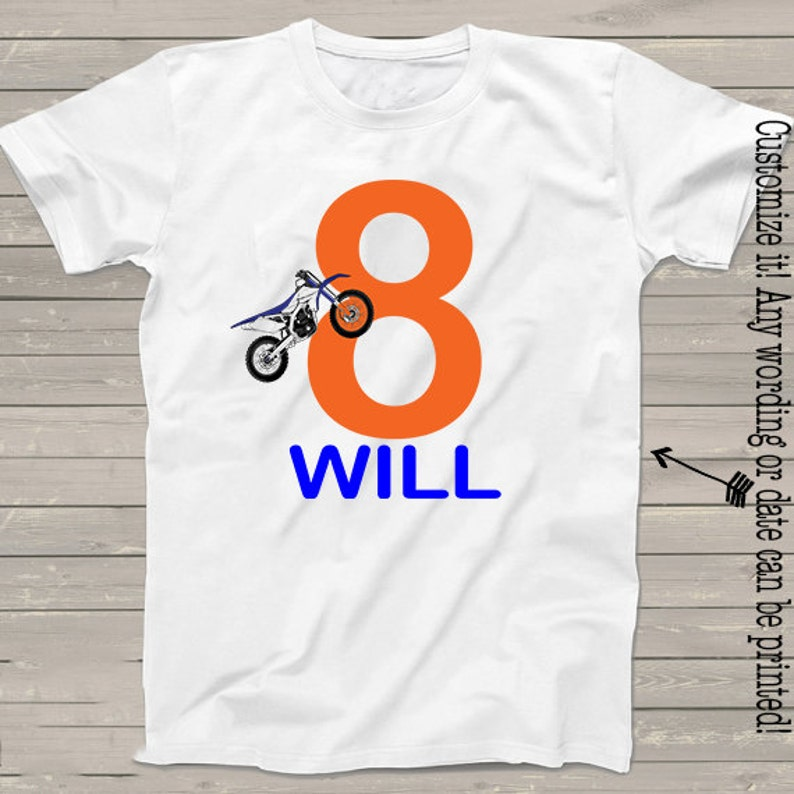 7320dada Motocross shirt for kids personalized 8th dirtbike rider | Etsy